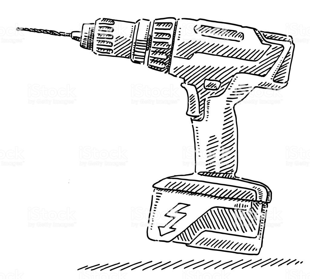 Hand Drawn Vector Drawing Of A Portable Electric Drill