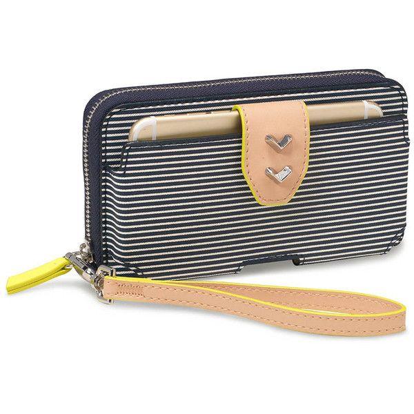 Stella Dot Madison Tech Wallet Navy Breton Stripe 52