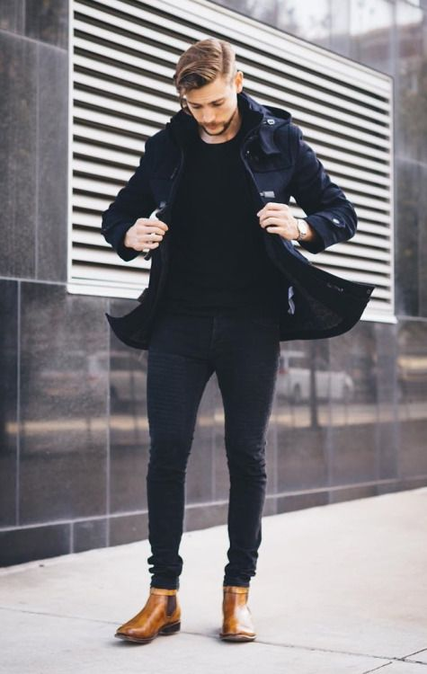 black and brown // menswear, mens style, fashion, boots
