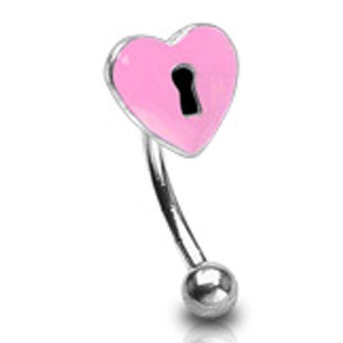 Wenkbrauwpiercing slot roze