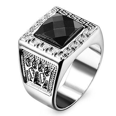 Argent Titane Acier Hommes Ring BIG BLACK SQUARE Pierre Bijoux Vintage Cadeau
