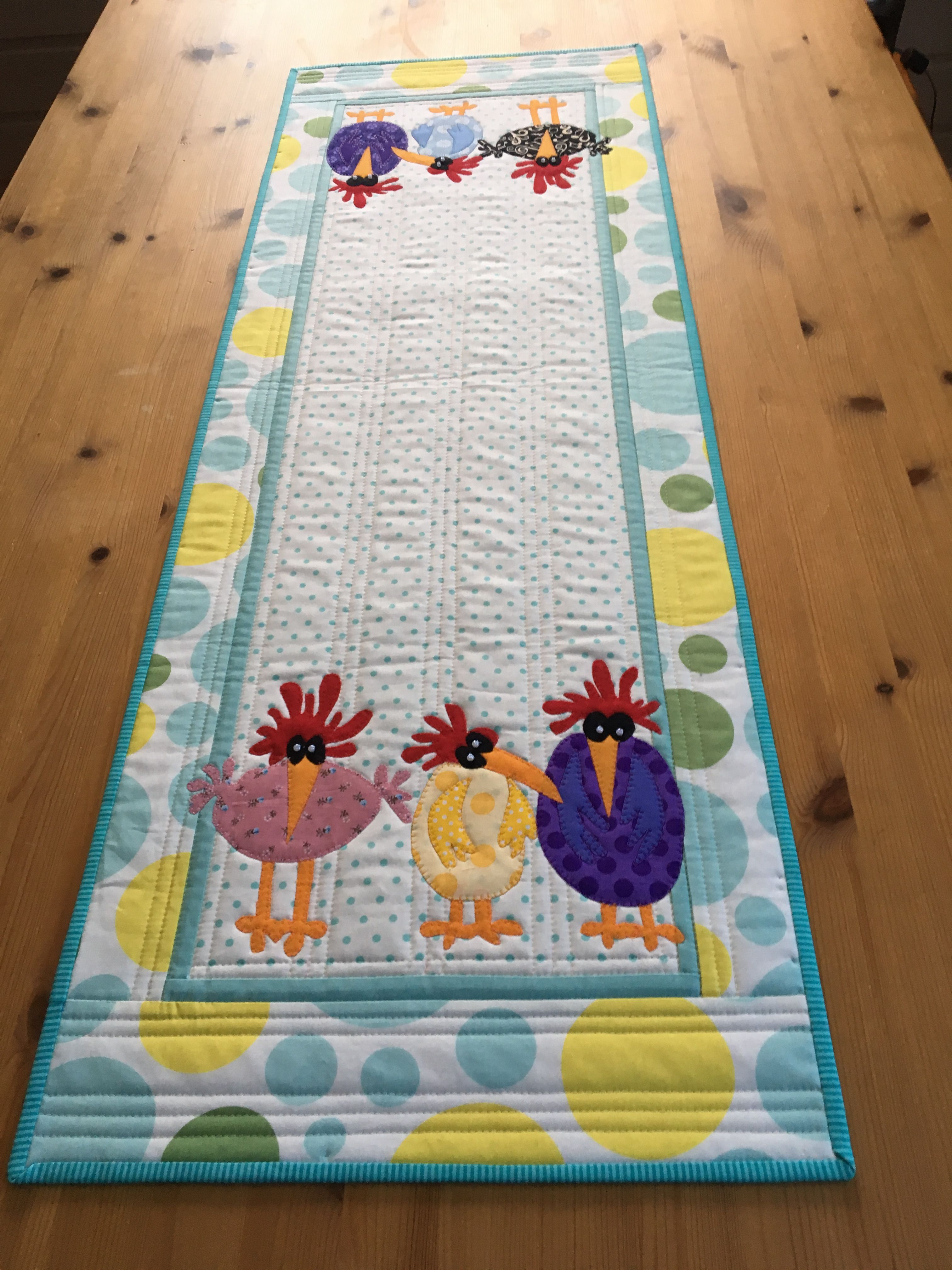 Spring Chickens Table Runner Quilted Table Runners Christmas Applique Table Runner Quilted Table Runners