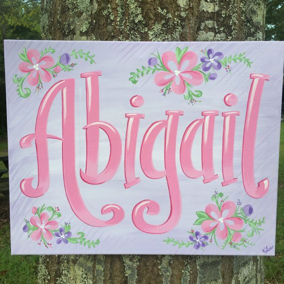 Personalized Name Canvas By Handiwork210 On Etsy Personalized Canvas Painting Painted Name Canvas Name Canvas