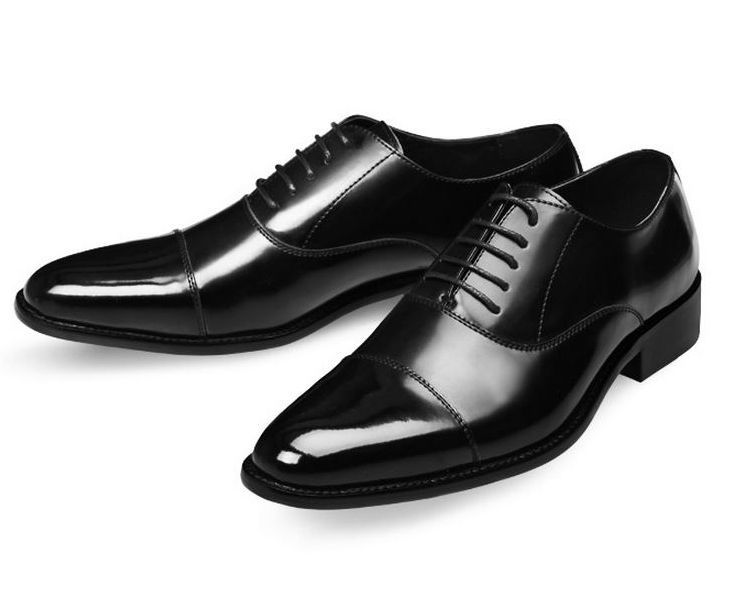 Cap Toe Balmoral Lace-up Leather Oxford Men's Formal Dress Shoes ...