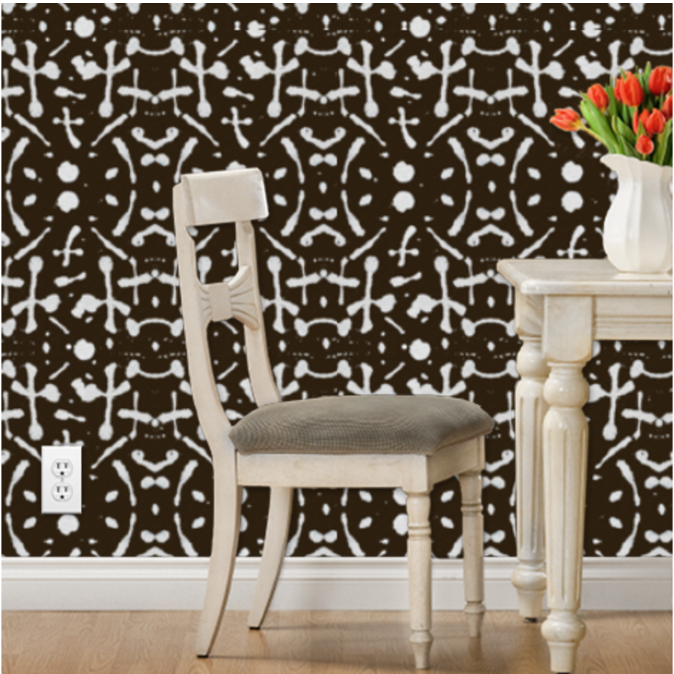 like this mudcloth-ish wallppaer http://www.spoonflower.com/wallpaper/5769953-mudcloth-chocolate-by-mariden?iref=clk-xs-fab-collection