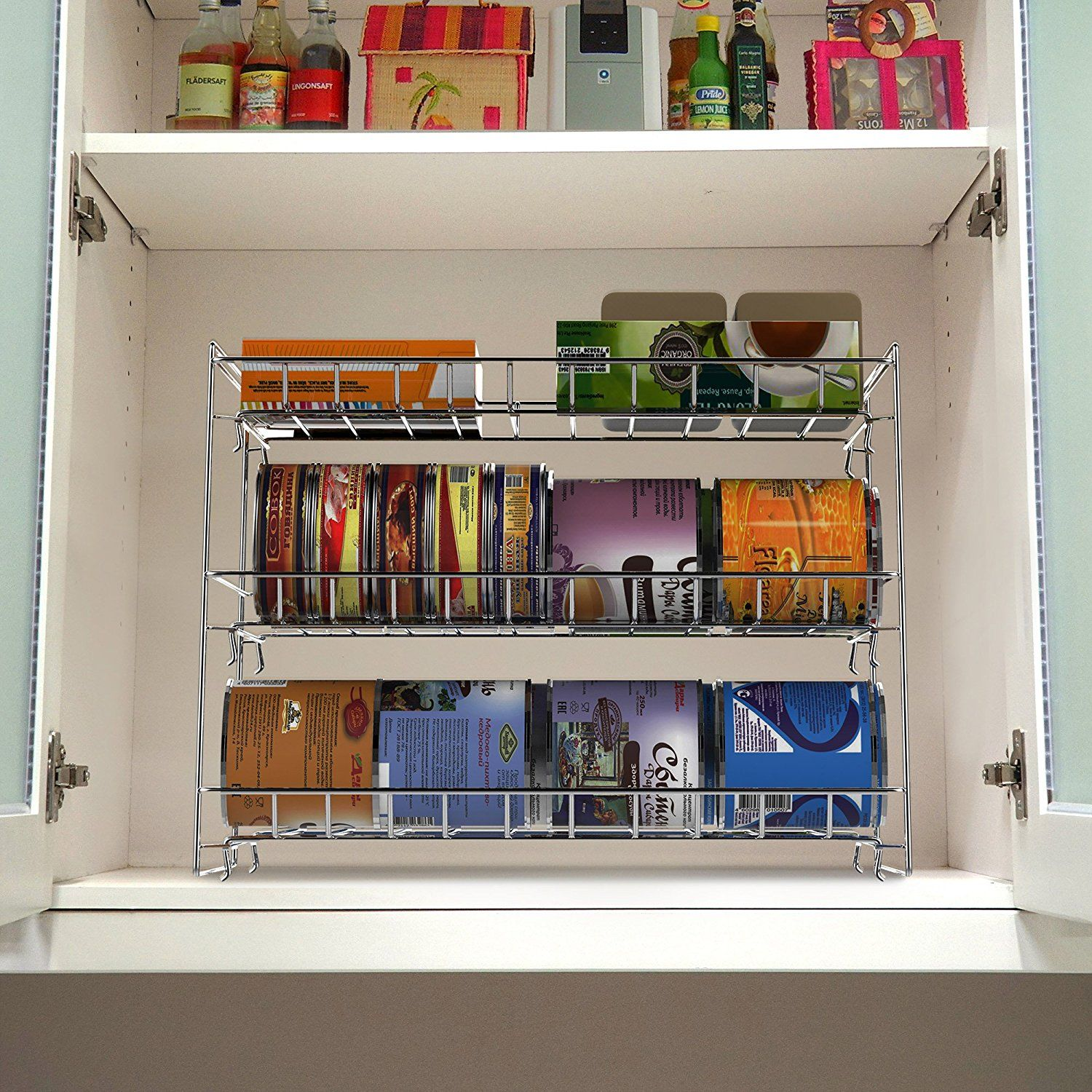Amazonsmile 3 Tier Can Dispenser Stackable Can Organizer Rack For Kitchen Pantry Countertop And Cabi Space Saving Kitchen Shelving Racks Storage Cabinets