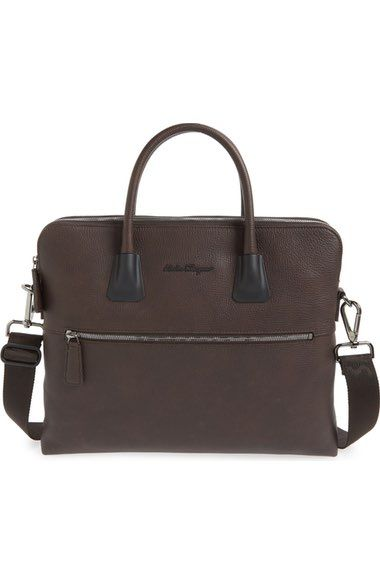 980356f2ddc8 Salvatore Ferragamo  Icaro  Double Compartment Calfskin Leather Briefcase  available at  Nordstrom