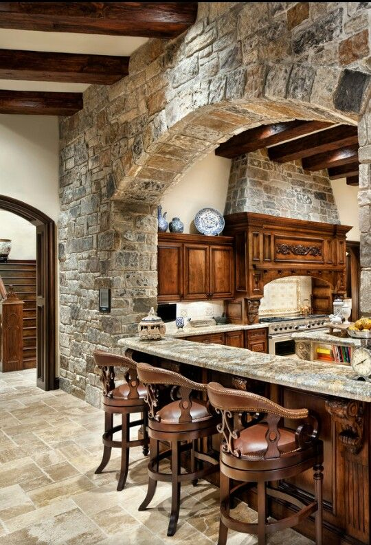 Beautiful Stone Arch Design Home Stone Kitchen House Styles