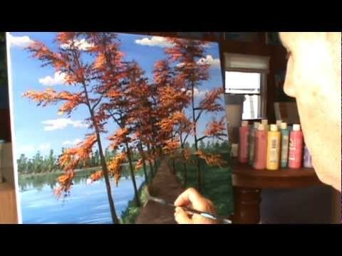 Peindre Paysage D Automne Rapidement Acrylique Toile Youtube