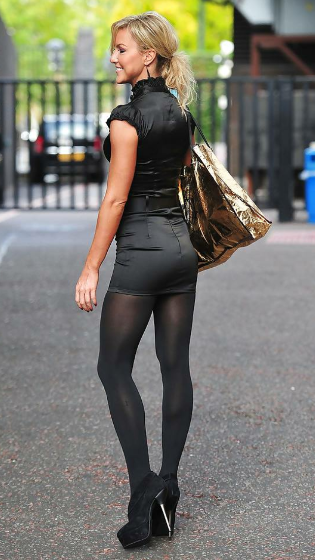 6df55d93596 Stunning blonde in minidress, opaque tights / pantyhose and heels ...