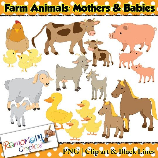 Baby Farm Animals Clip Art meet the mothers and spring babies of the farm with this clip art