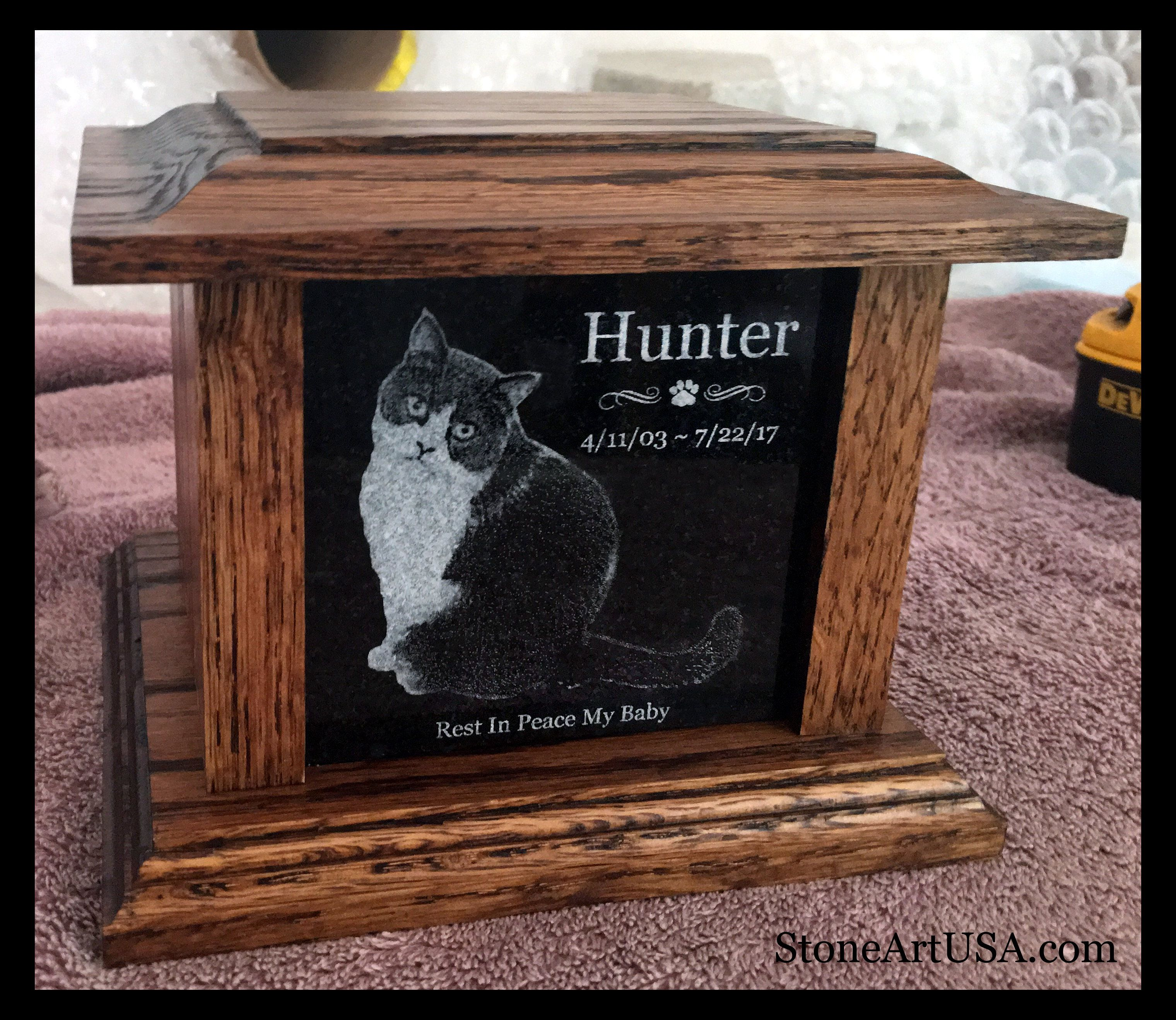 R I P Hunter Small Oak Granite Urn W Dark Stain Hi Eric The Urn Arrived Safely Today It Pet Urns Cat Custom Pet Memorials Granite Pet Memorials
