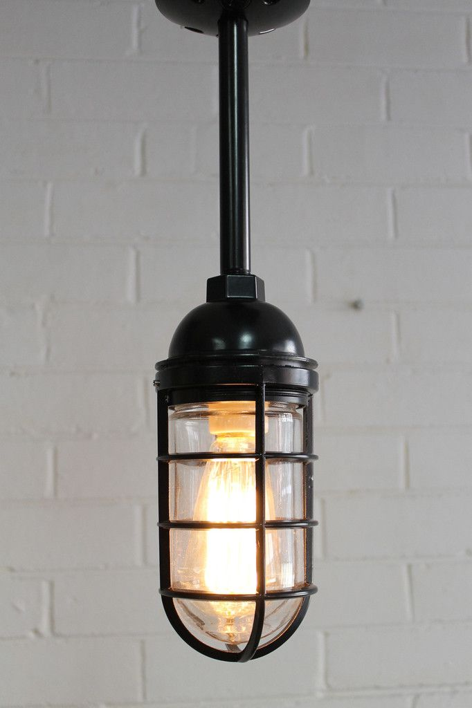 Cage light industrial pendant pole mount black