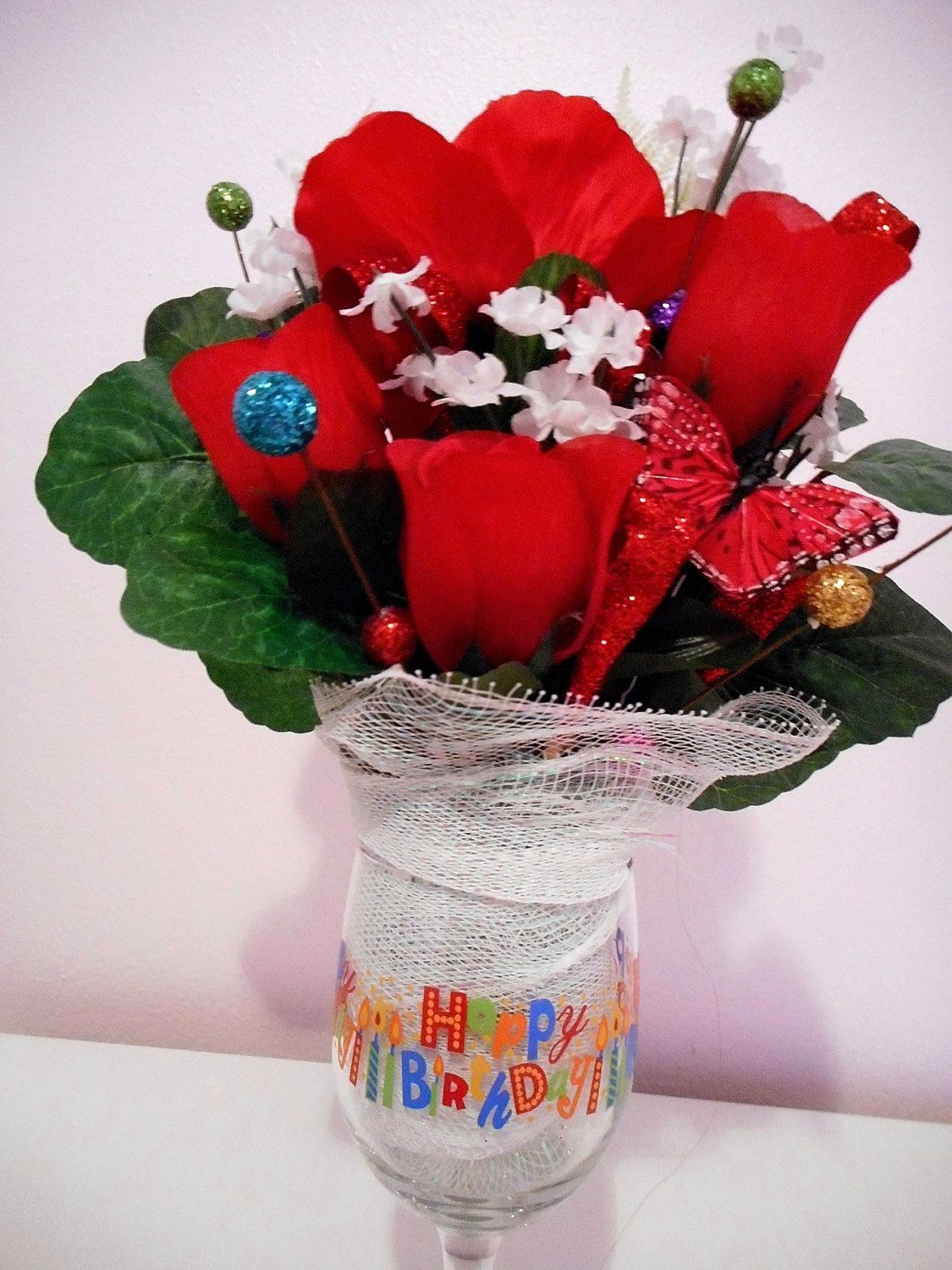 Happy Birthday Rose Flower Arrangement Red Roses With Long Stem Wine Glass Bouquet By