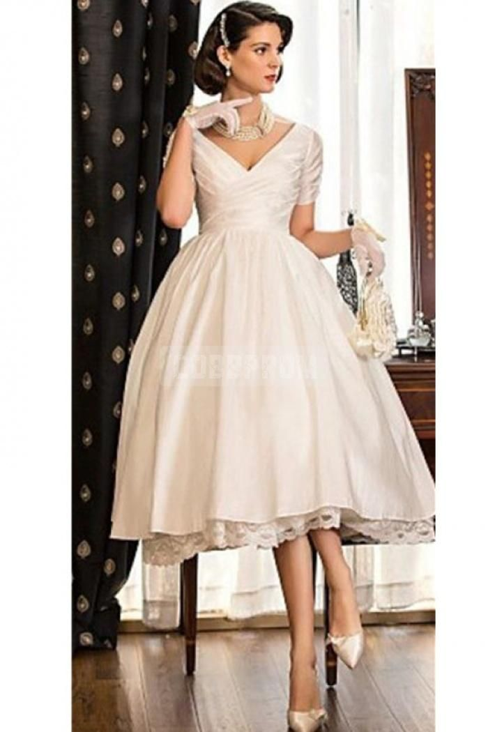 Vintage Champagne Short Sleeves Knee Length Wedding Dress Tea