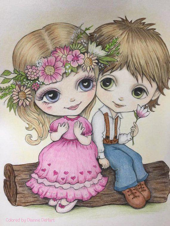Love Coloring Pages, Digital stamp, Digi, Boy & Girl ...