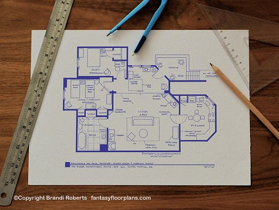 Threeu0027s Company TV Show Blueprint Poster Floor by TVfloorplans - new blueprint plan company