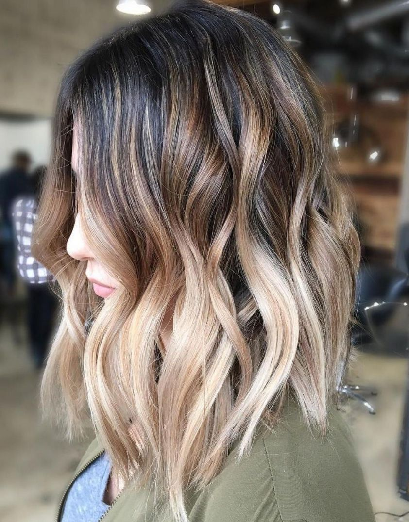 Dark Brown To Creamy Blonde Ombre Balayage Hair Short Hair Balayage Short Ombre Hair