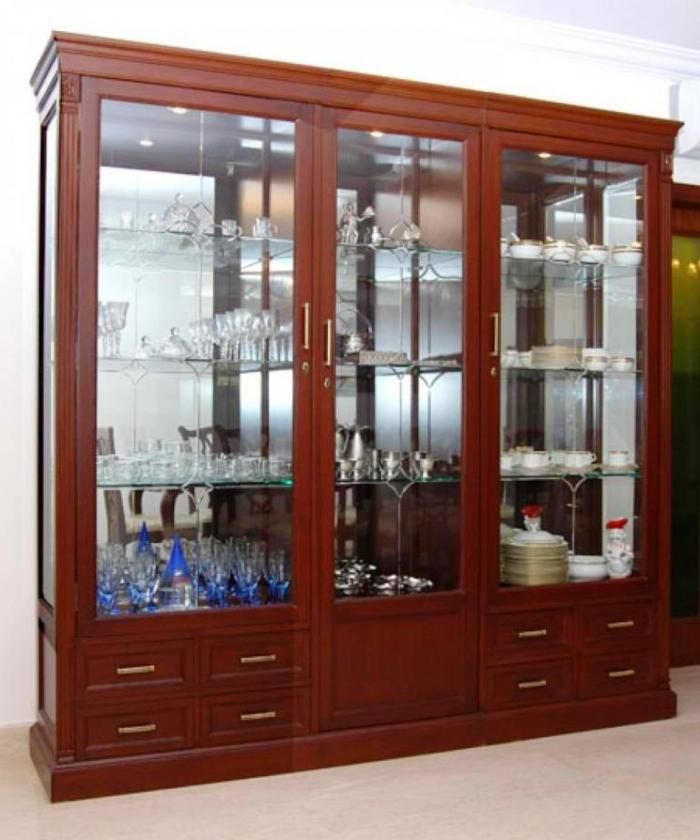 10 Chic And Elegant Kitchen Glass Cupboards Crockery Unit Design