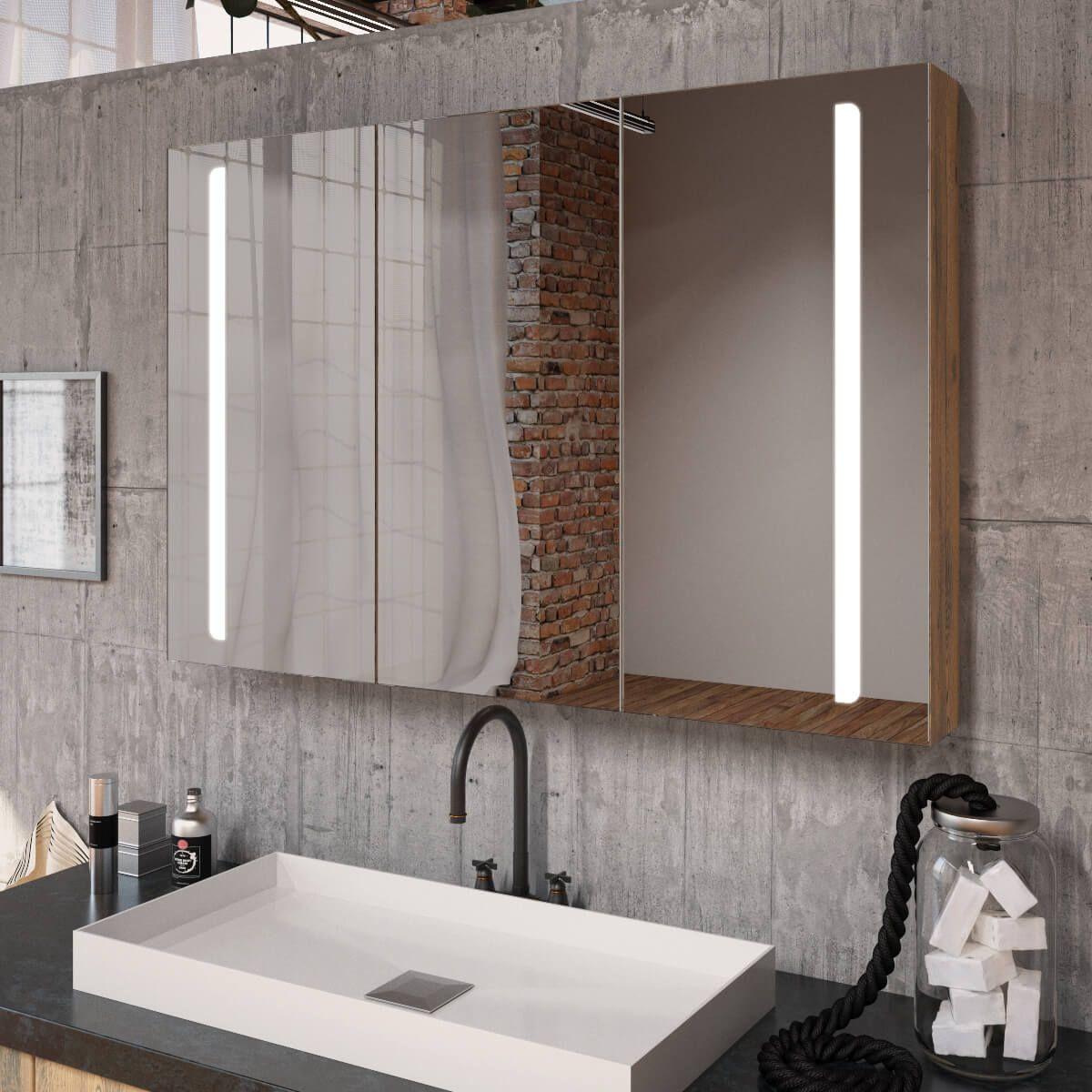 Spiegelschrank Ogrel Mit Led Beleuchtung Spiegelschrank Led Beleuchtung Spiegelschrank Bad
