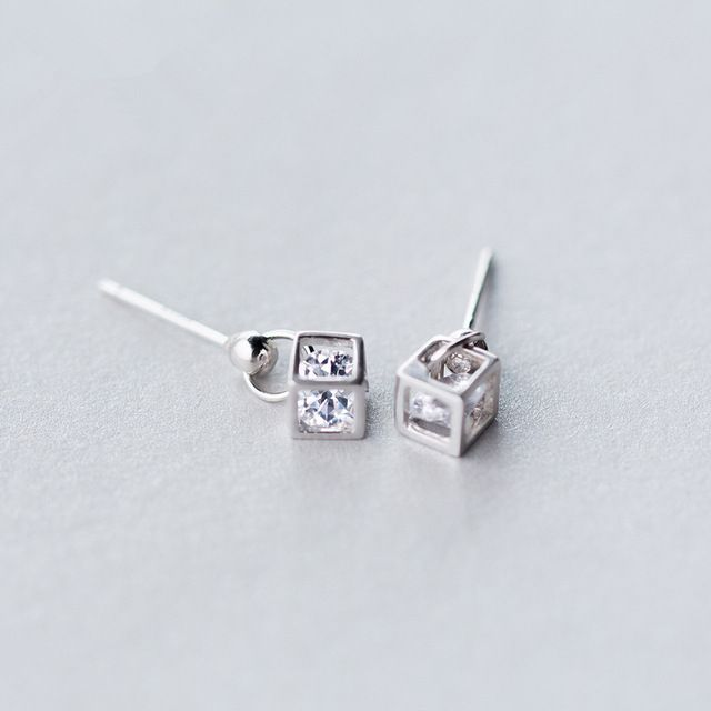 New 925 Sterling Silver Zircon Drop Earrings Square Box With Shiny Stone Inside