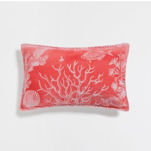 Изображение товара Чехол для подушки изо льна 'Рыбы'