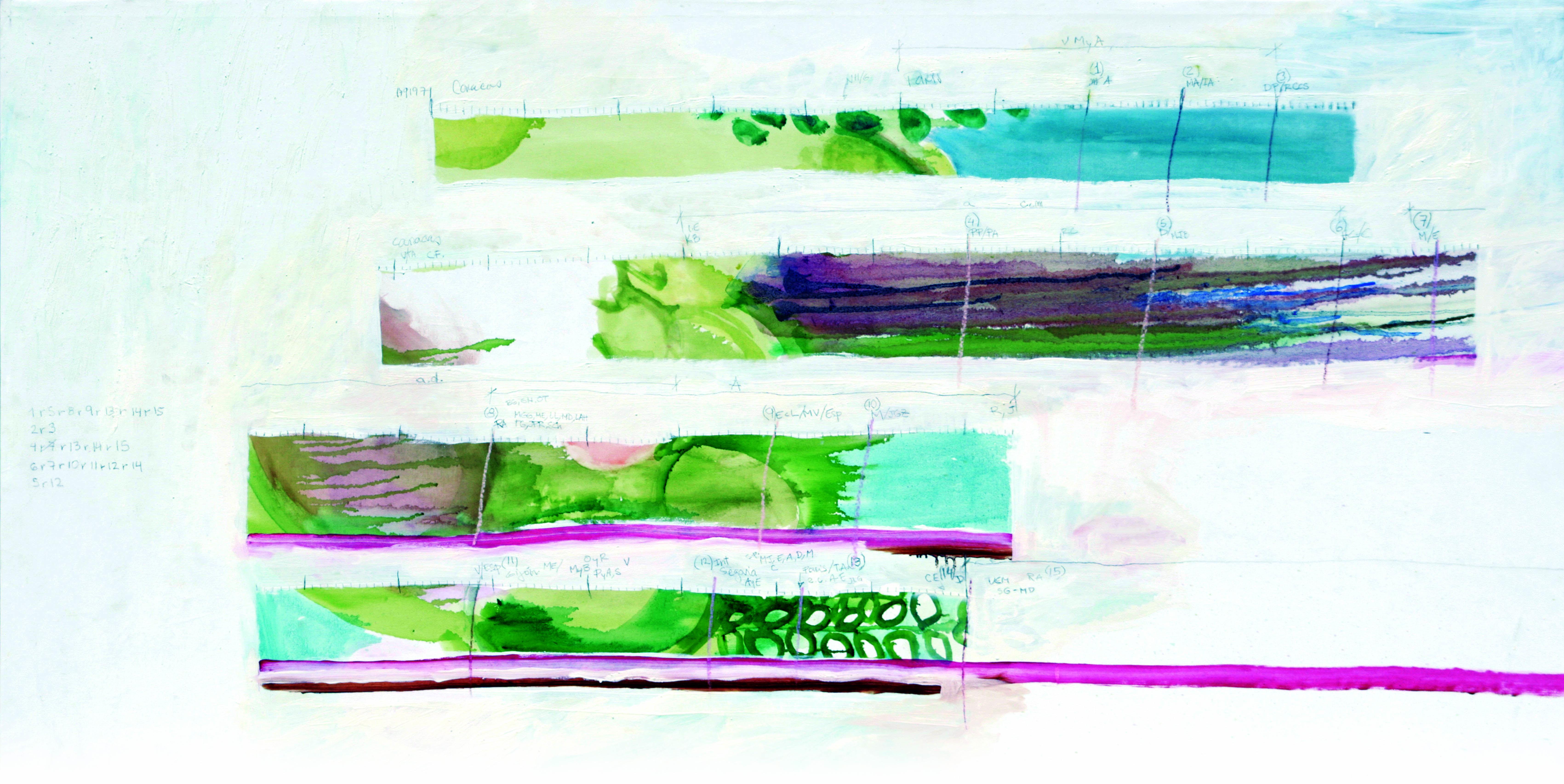 Línea de tiempo. Oleo sobre tela. 200 x 100 cm