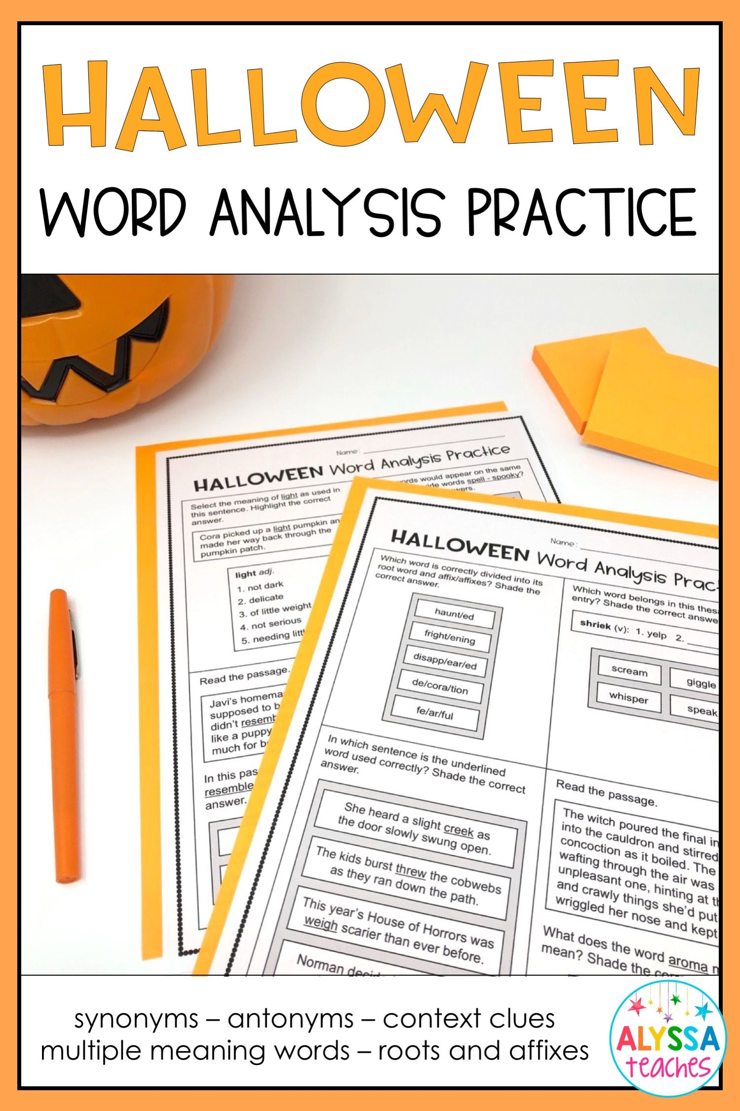 Halloween Word Analysis Worksheets Sol 4 4 Print And Digital Halloween Words Multiple Meaning Words Vocabulary Skills
