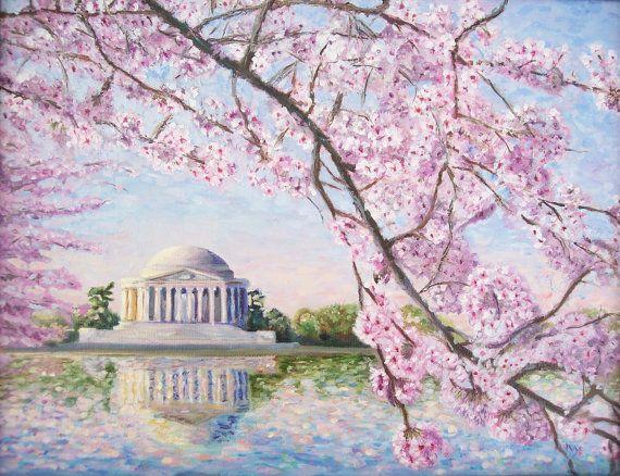 Washington Dc Art Print Cherry Blossoms Dc Cherry Blossom Etsy Cherry Blossom Painting Cherry Blossom Painting Acrylic Washington Dc Art