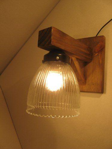Aplique de pared rustico estilo campo madera hierro tulipa - Lamparas estilo rustico ...