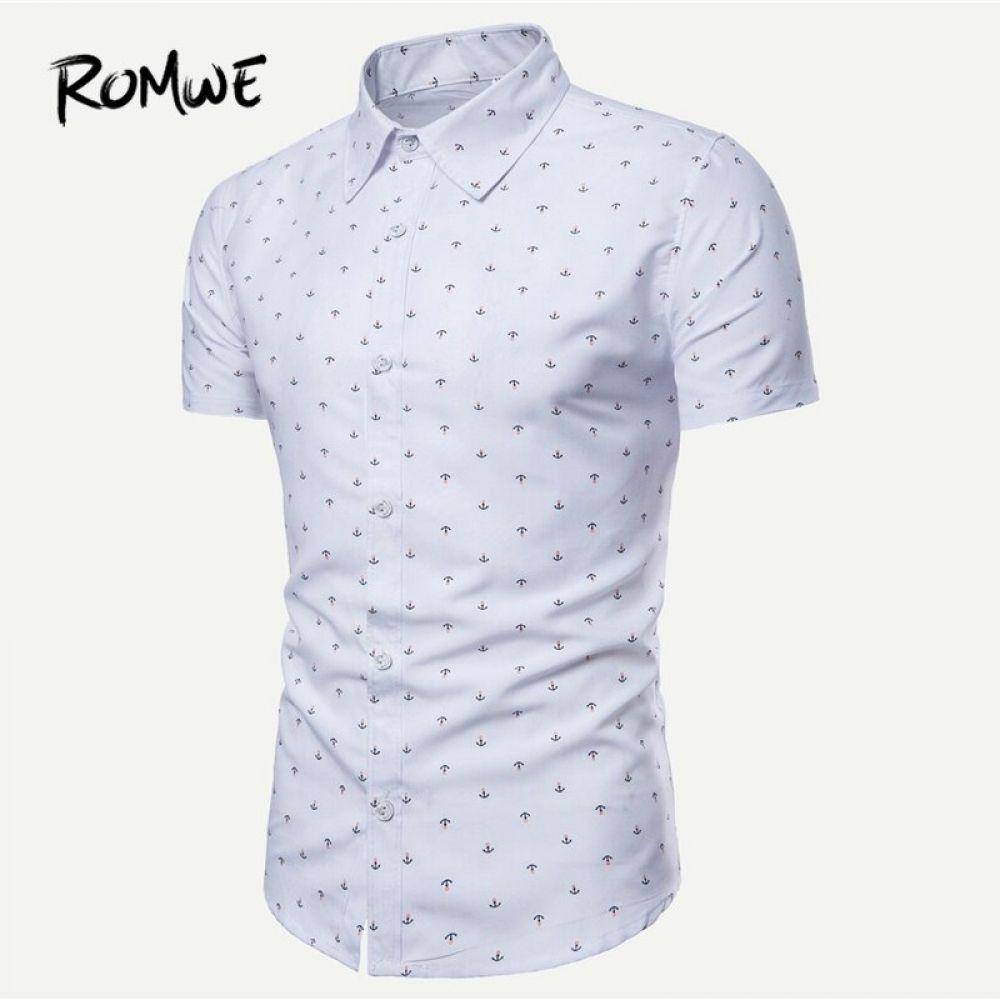 Romwe Hombres Ancla Impresion Curva Hem Camisa 2019 Blanco Nuevo Diseno Verano Camisa Co En 2020 Camisas Hombre Vestir Camisas De Moda Para Hombres Ropa Casual Hombres