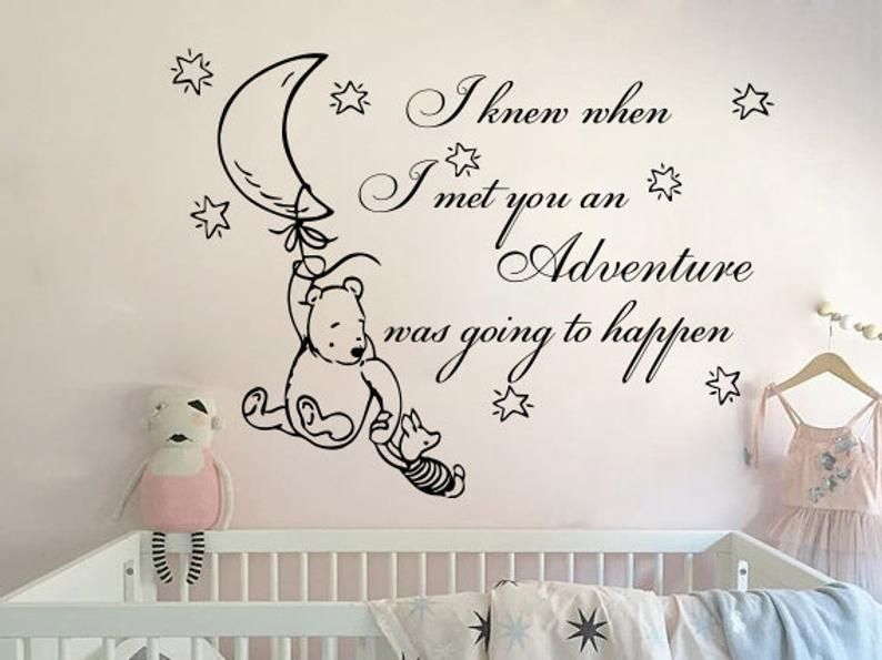 Winnie The Pooh And Piglet Wall Decals Quote Classic Etsy Nursery Wall Decals Disney Baby Nurseries Winnie The Pooh Nursery