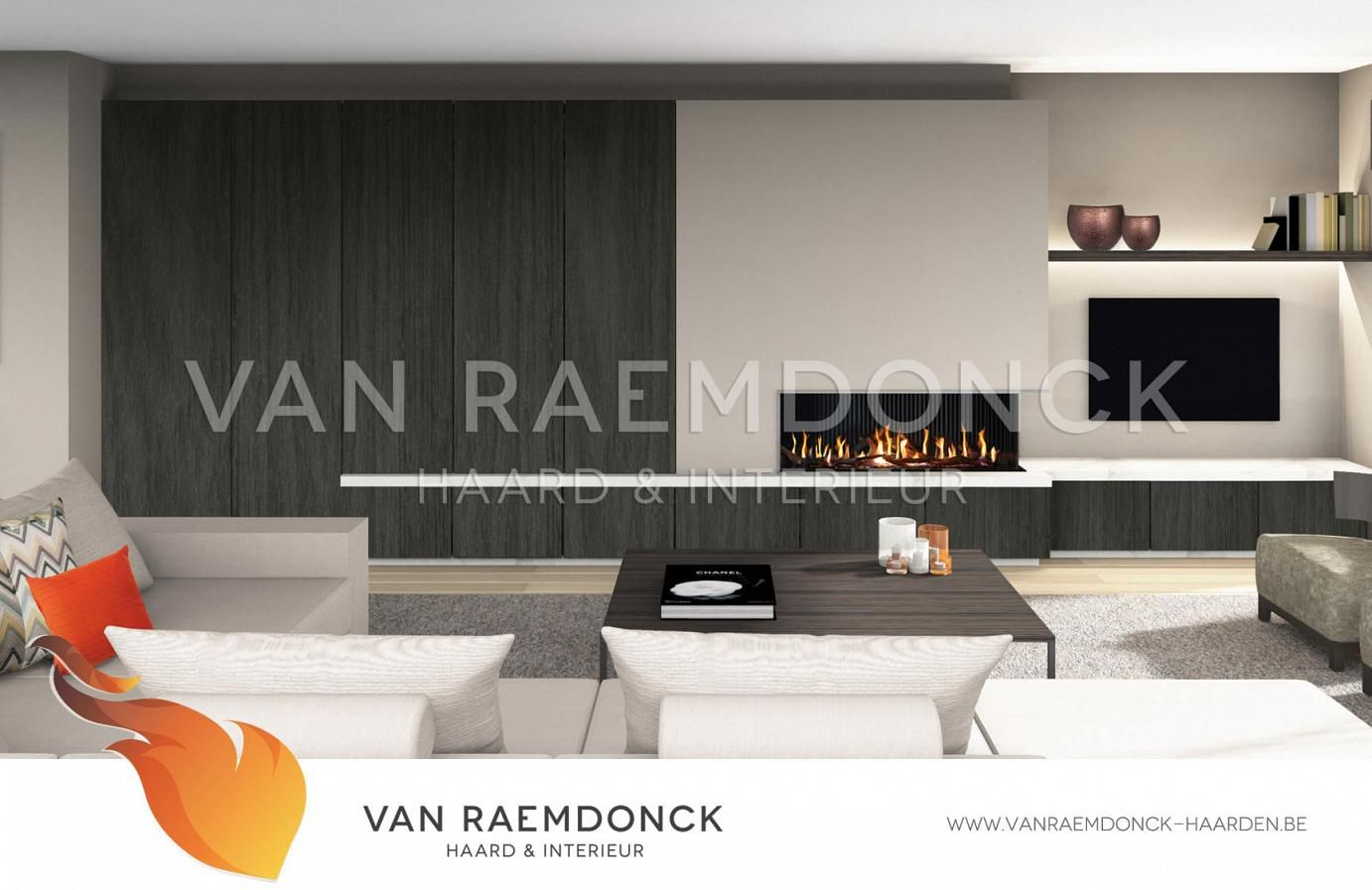 Moderne haard met tv en kasten van raemdonck haard interieur living rooms room and for Interieur moderne