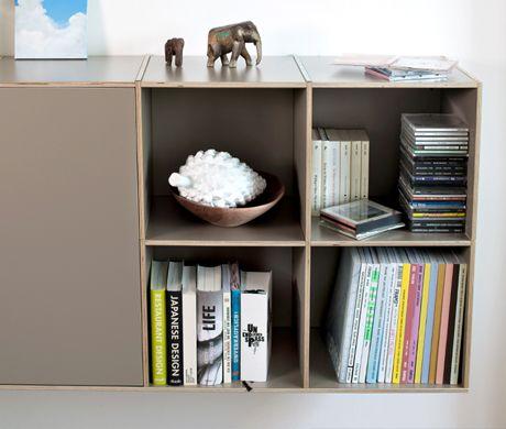 h ngeregal birkenschichholz mit t ren w hlbar f r b cher schallplatten aktenordner 34 cm tief. Black Bedroom Furniture Sets. Home Design Ideas
