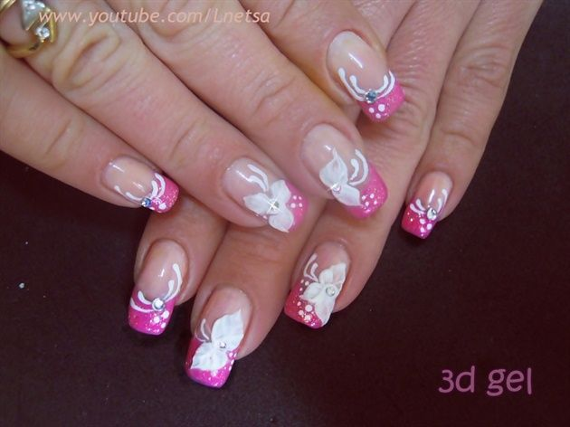 Pink French And 3d Gel Decoration By Lnetsa From Nail Art Gallery Gel Nagel Design Nagelkunst Design French Gel