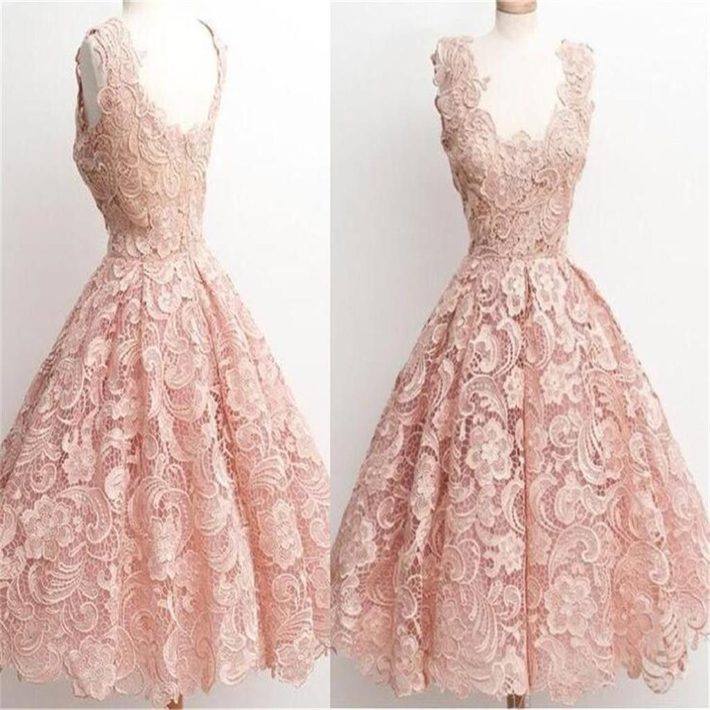 Peach Lace Scoop Neckline Short Cute homecoming prom dresses, CM0009 ...
