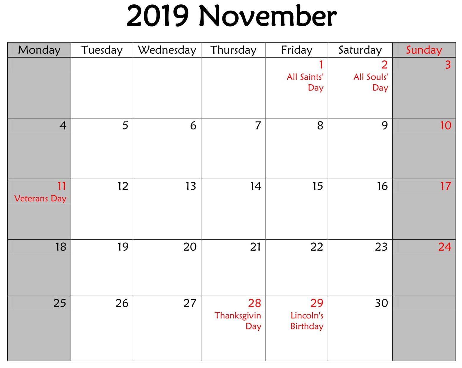 November Booklet 2019 Calendar With Holidays Holiday Calendar Printable Calendar 2019 With Holidays Printable Calendar