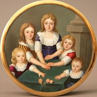 "SNUFF BOX WITH painting of five brothers and sisters France, end of 18th century, painting circa 1810 Marked: ""JBL"" Diameter: 3,3'' (8,5 cm)..."