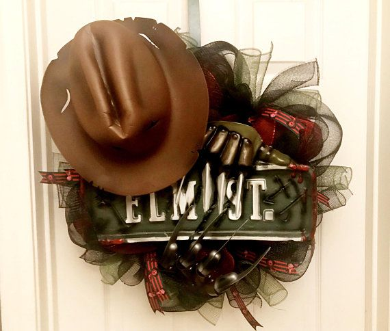 Freddy Krueger wreath, Elm Street Wreath, Halloween Wreath
