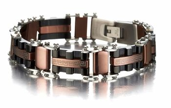 Greek Key Design Men S Bracelet In Brown And Black Stainless Steel Bracelets For Men Mens Gold Bracelets Mens Bling