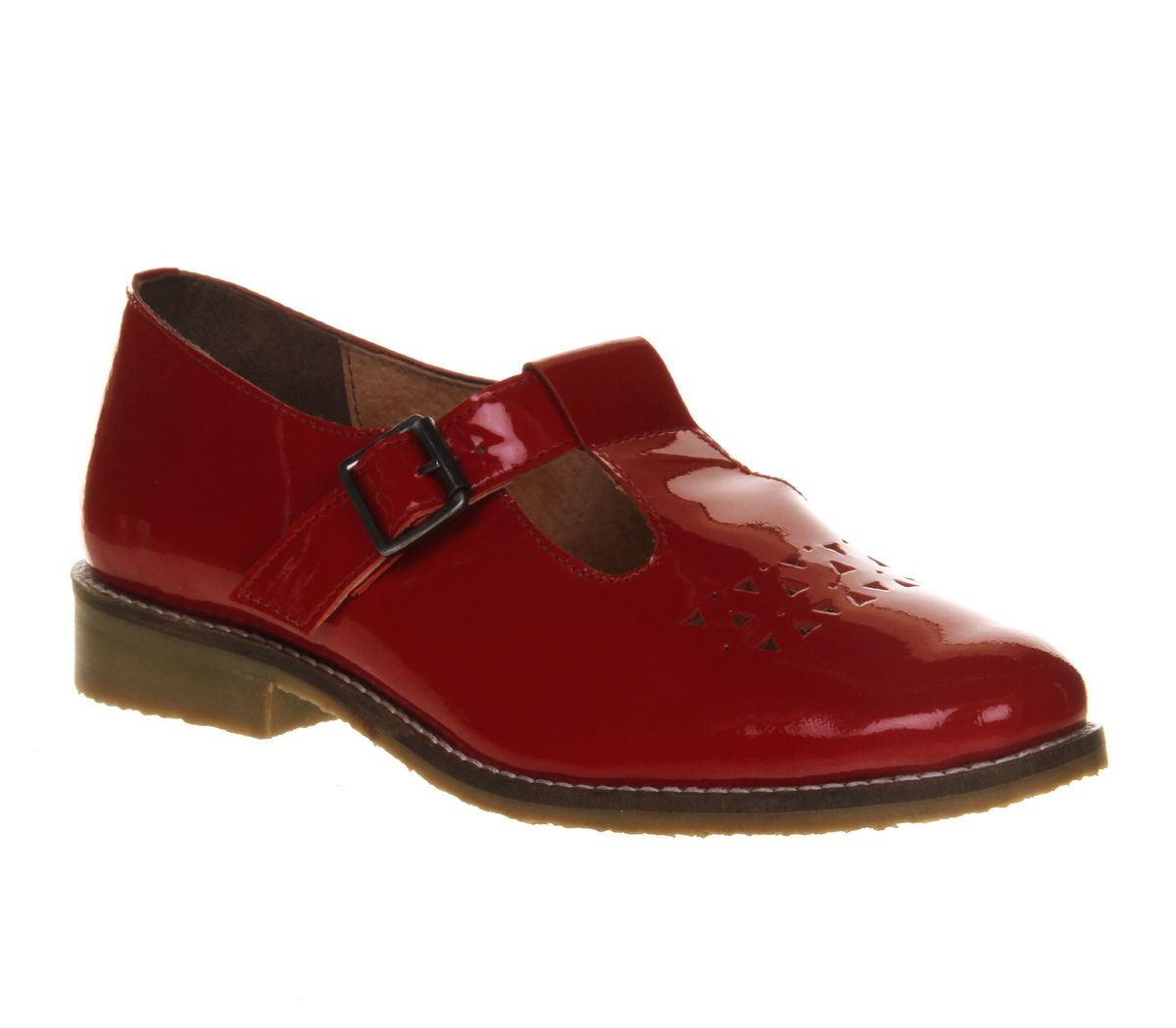 Office Paintbox Tbar Red Patent Leather Flats