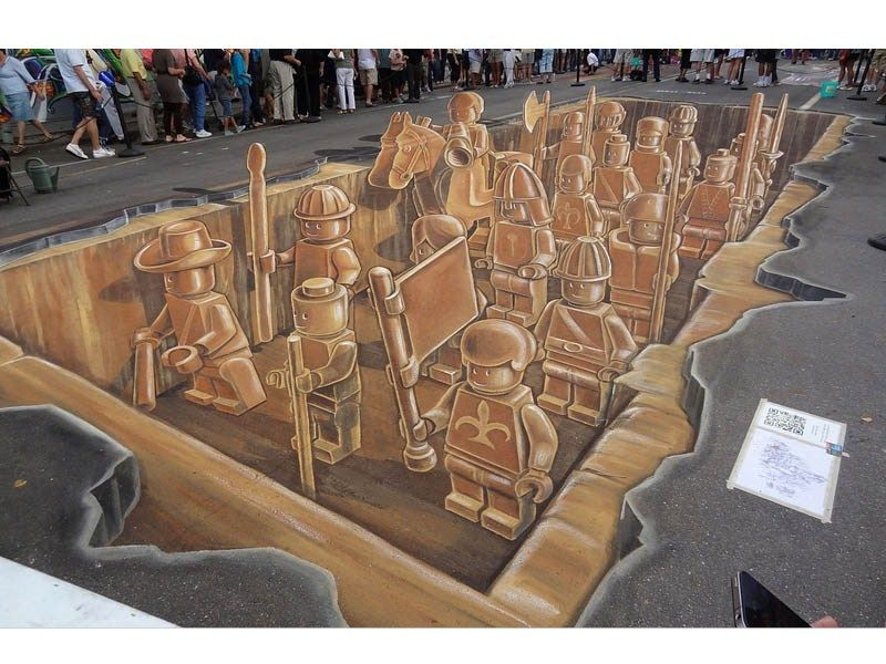 """i can't never figure out how they do it - """"Die Lego Terrakotta Krieger als 3D Street Art"""""""