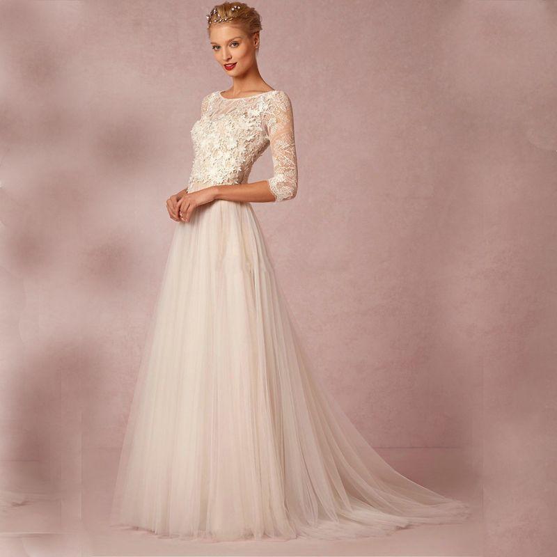 Vintage A line Scoop Neckline Lace Appliques Wedding Dress 2017 ...