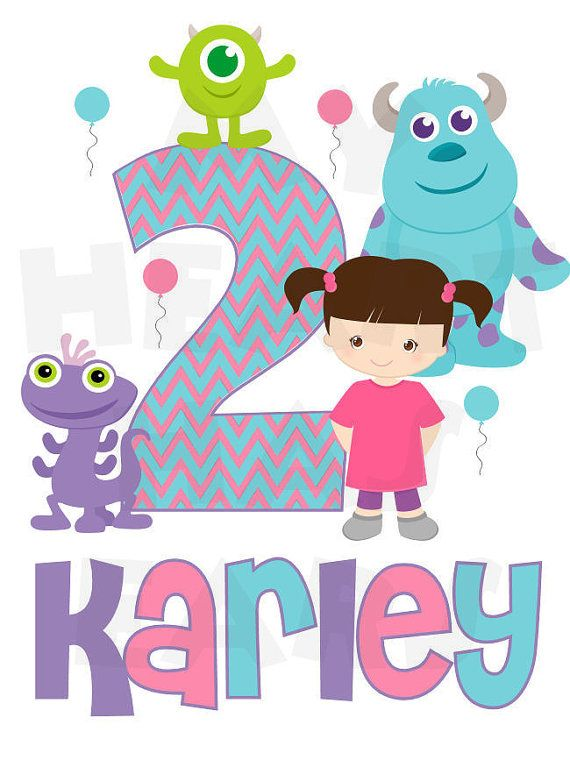 Printable Diy Monsters Inc Girl Birthday Any Name Or Number Digital Clipart By Myhearthasears How To Monsters Inc Baby Monster Inc Party Monster Inc Birthday