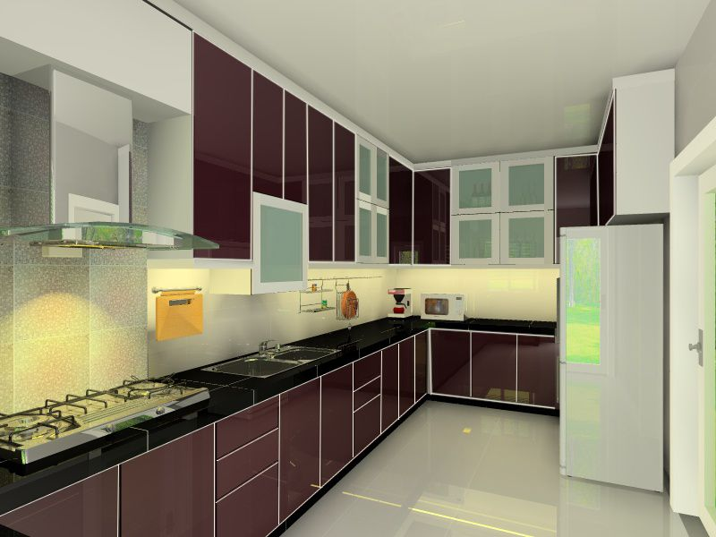 Maroon And White Kitchen Cabinets Design Ideas