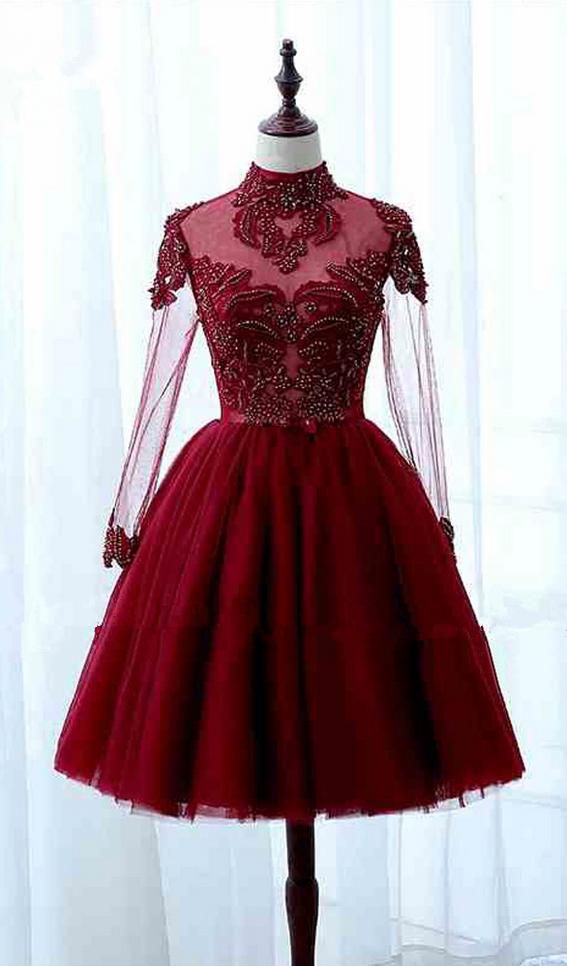 Red Turtle Neck Long Sleeve Formal Dress
