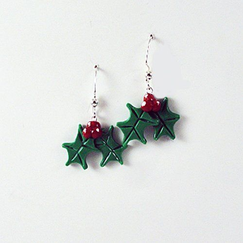 Holiday Christmas Holly Leaf Dangle Earrings « Blast Gifts Who