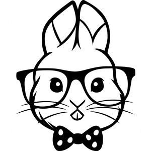 Hipster Easter Bunny Silhouette Design Silhouette Cameo