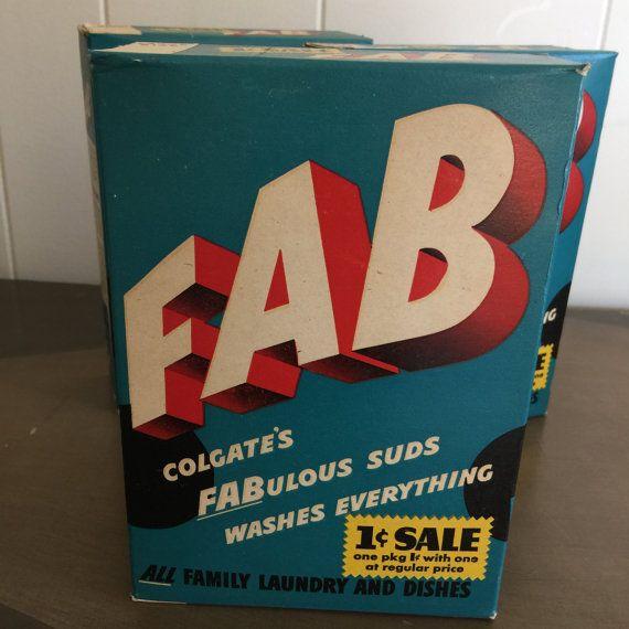 Vintage Fab Laundry Detergent Nos 1940s By Retroresalesandiego