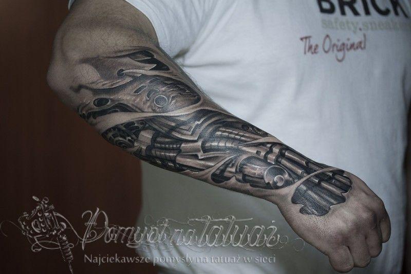 Biomechanika Na Przedramię Aż Na Dłoń Pomysl Na Tatuaz